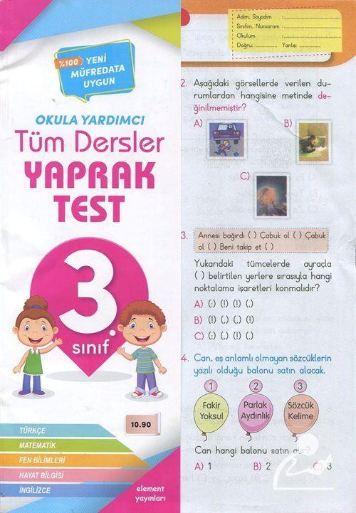 3. Sınıf Tüm Dersler Yaprak Test