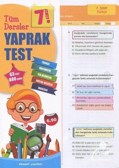 7. Sınıf Tüm Dersler Yaprak Test