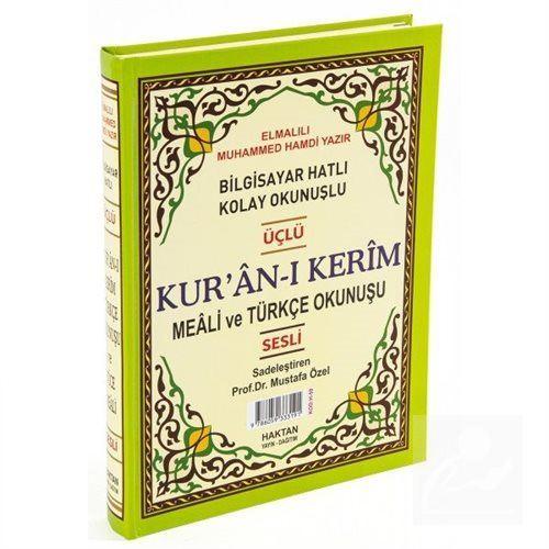 Kur'an-ı Kerim ve Türkçe Okunuşlu Üçlü Meal (Orta Boy) Kod: H-58)